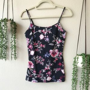 NWOT Express Black & Floral Tank Top, Size Small
